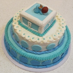 Blue and White 3 Tier Baby Shower Cake