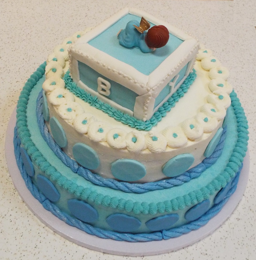 Blue-and-White-3-Tier-Baby-Shower-Cake