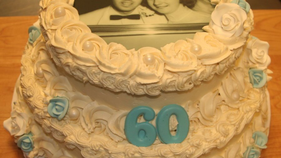 Wedding Anniversary Two Tier Cake With Black and White Photo